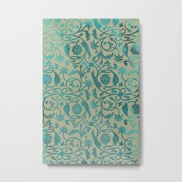 Blue Lotus Pattern Metal Print