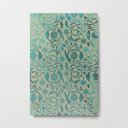 Blue Lotus Pattern Metal Print