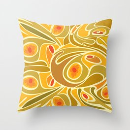 Rooster pattern in Yellow Goldenrod Throw Pillow