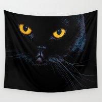 black cat Wall Tapestries featuring Black cat by Vlad&Lyubov