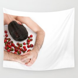 Strawberries Angel (Nude Food) Wall Tapestry