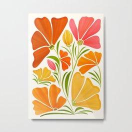 Spring Wildflowers / Floral Illustration Metal Print