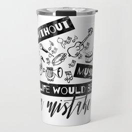 Fun Black Design with Musical Instruments Travel Mug