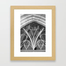 Window of St. Mary's Church Torgau, black and white photo Framed Art Print