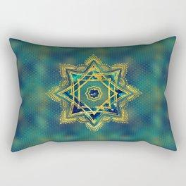 Golden Decorative Star of Lakshmi - Ashthalakshmi Rectangular Pillow