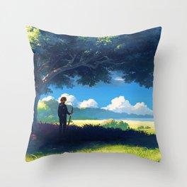 Lonely Wanderer Hiker Under Big Tree Enjoying Prairie View Cartoon Scenery Ultra High Definition Throw Pillow