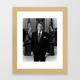 Ronald Reagan In The Oval Office Framed Art Print