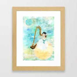 Harp girl: Music from the moon Framed Art Print