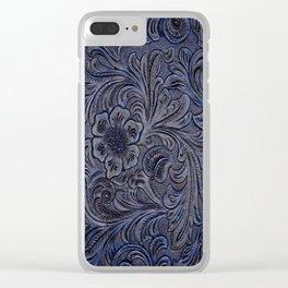 Turquoise Embossed Tooled Leather Floral Scrollwork Clear iPhone Case