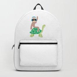 Funny Lazy Sloth Riding Sea Turtle Hona Gift Backpack