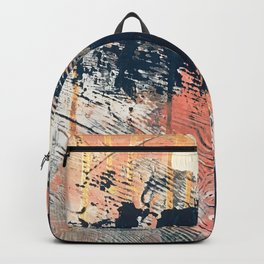 Hidden Gem [1]: an abstract mixed media piece in pink, blue, gold and white Backpack