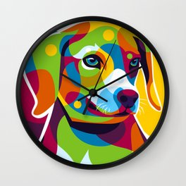 The Colorful Little Puppy Pop Art Style Wall Clock