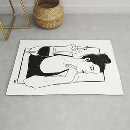 Illustration portrait beautiful woman smoking Rug