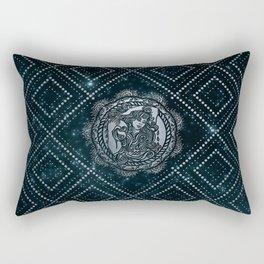 Aquarius Zodiac Silver Embossed on the Star sky Rectangular Pillow