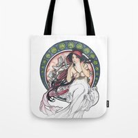 mucha Tote Bags featuring Alfons Mucha Music by Puddingshades