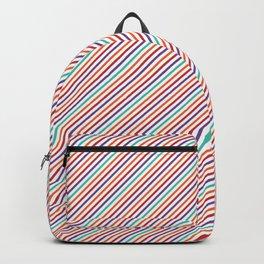 Geometrical violet red orange modern stripes pattern Backpack