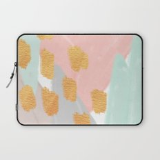 Soft Angles 2 - coral and mint abstract Laptop Sleeve