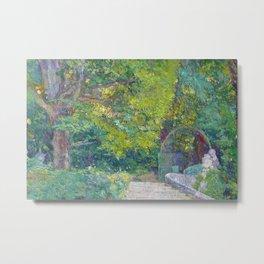 Golden Autumn Foliage, French Countryside Formal Garden landscape painting by Ferdinand Loyen du Puigaudeau Metal Print