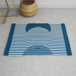 Optical Hypnotic Illusion 2 - Beach Cottage Nautical Indigo Blue Rug
