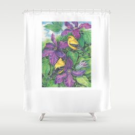 Goldfinches and Purple Clematis Shower Curtain