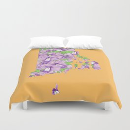 Rhode Island in Flowers Duvet Cover