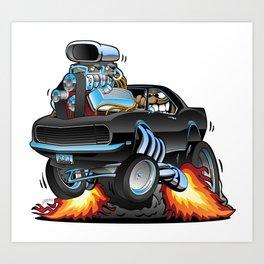 Classic Sixties American Muscle Car Popping a Wheelie Cartoon Illustration Art Print