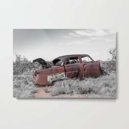 Rusting Remnants of Route 66 in Ghost Town Cuervo New Mexico Metal Print