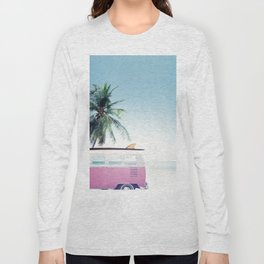 Pink Retro Van Long Sleeve T-shirt