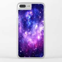 Purple Blue Galaxy Nebula Clear iPhone Case