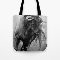 bull Tote Bags featuring BULL by MikakoskArts