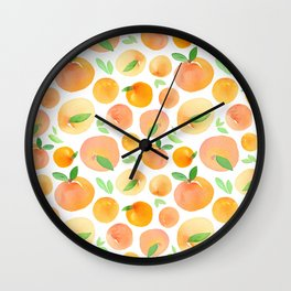 Watercolor Peach Pattern Wall Clock