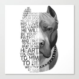 Pit Bull Print, Pit Bull Quote, Pit Bull Gift, Text Dog Portrait, Dog Art, Dog Quotes Print, Text Do Canvas Print