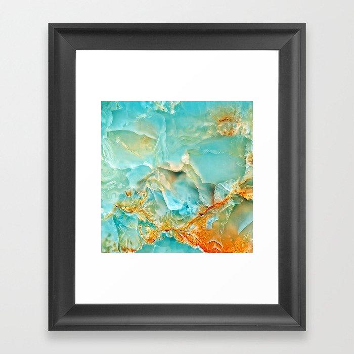 Onyx - blue and orange Gerahmter Kunstdruck