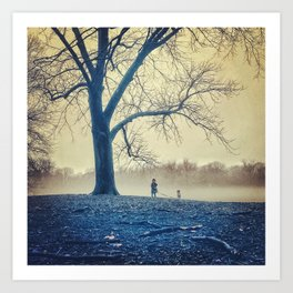 Girl, dog and tree Art Print