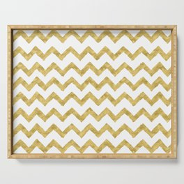 Chevron Gold And White Serving Tray