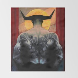 Aries Iron Bull zodiac tarot card dragon age inquisition Throw Blanket