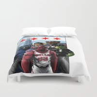 chicago bulls Duvet Covers featuring Chicago Sports by Carrillo Art Studio