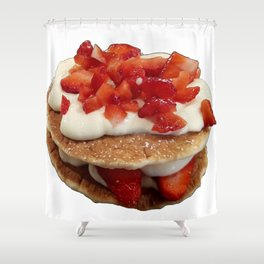 pancakes_strawberries_and_whip_cream Shower Curtain
