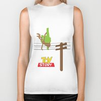 toy story Biker Tanks featuring Toy Story - Falling With Style by Gary Wood