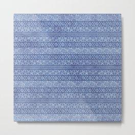Tribal Batik in Cornflower Blue Metal Print