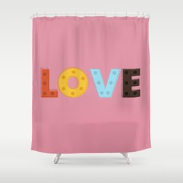 happy LOVE - typography Shower Curtain