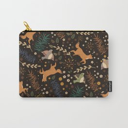 Autumn Woodsy Floral Forest Pattern With Foxes And Birds Carry-All Pouch