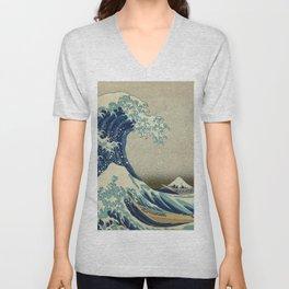 Ukiyo-e, Under the Wave off Kanagawa, Katsushika Hokusai Unisex V-Neck