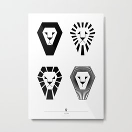 animal PICTOGRAMS vol. 3 - LIONS Metal Print