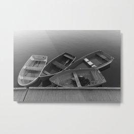 Four Skiffs B&W Metal Print