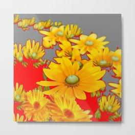 MODERN YELLOW FLOWERS GREY-RED ART Metal Print