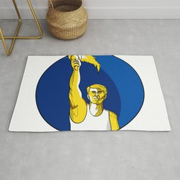 Athlete With Flaming Torch Drawing Rug