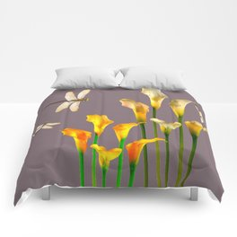 GOLD CALLA LILIES & DRAGONFLIES ON GREY Comforters