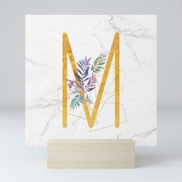 Modern glamorous personalized gold initial letter M, Custom initial name monogram gold alphabet prin Mini Art Print