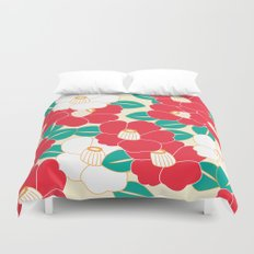 Japanese Style Camellia - Red and White Duvet Cover